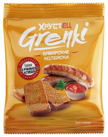 """Гренки ржаные """"Хрустец"""" со вкусом Баварских колбасок 80 гр"""
