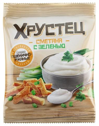 """Пшеничные сухарики """"Хрустец"""" со вкусом сметаны с зеленью 80г"""