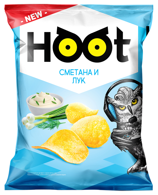 Чипсы HOOT Сметана-лук 130 г.
