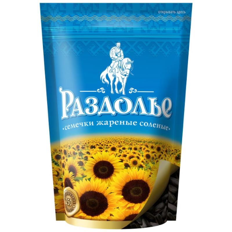 ЧЁРНЫЕ соленые семечки «Раздолье» в дой-паке, 250 г
