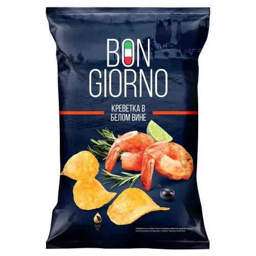 Чипсы картофельные Bon Giorno со вкусом Креветка в белом вине, 90гр