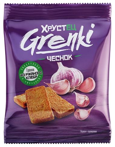 """Гренки ржаные """"Хрустец"""" со вкусом чеснока 80 гр"""