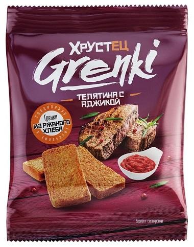 """Гренки ржаные """"Хрустец"""" со вкусом телятина с аджикой 80 гр"""